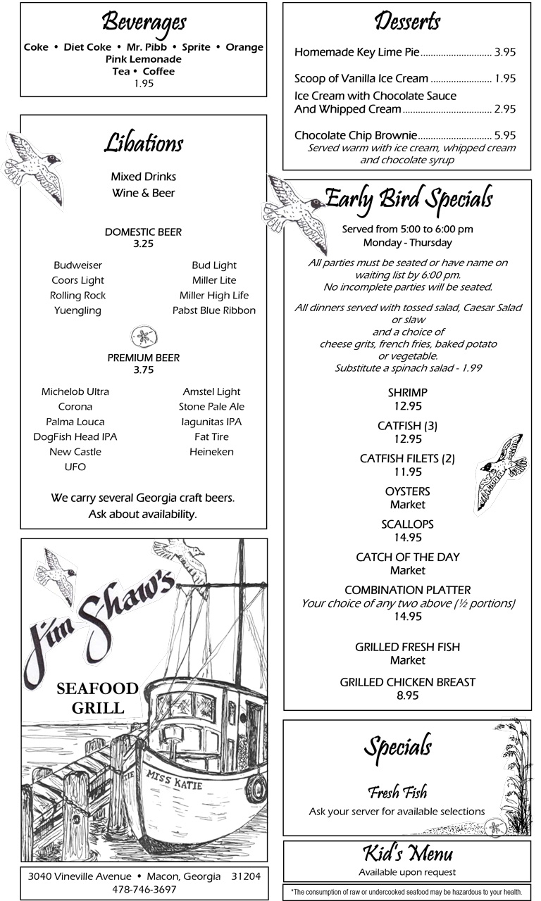 Our Menu   Jim Shaw's Seafood Resturant Grill & Bar in ...
