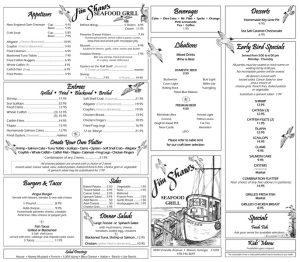 Jim Shaw Seafood Menu